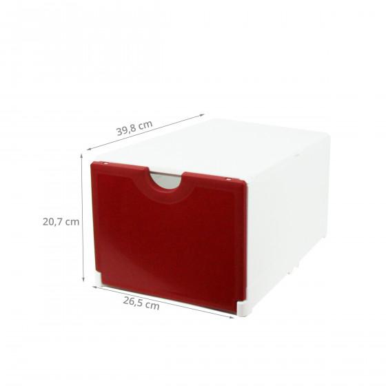 Module de classement blanc et rouge à 2 étagères