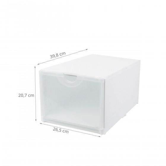 Module de classement blanc et transparent à 2 étagères