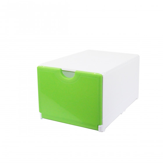 Boîte de rangement pour chaussures pliable et empilable blanche et verte