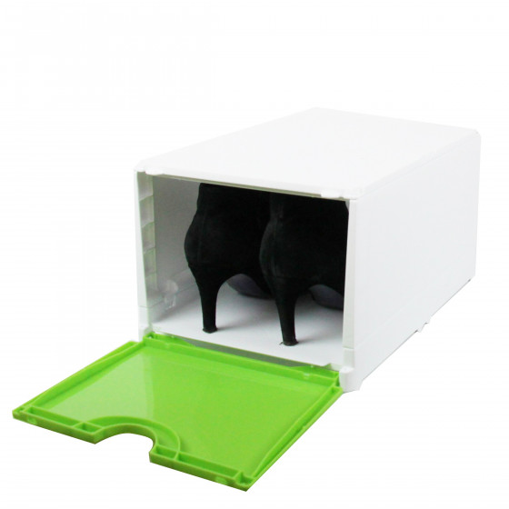 bo te rangement chaussures verte empilable. Black Bedroom Furniture Sets. Home Design Ideas