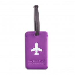 Etiquette de bagage rectangulaire en plastique violet
