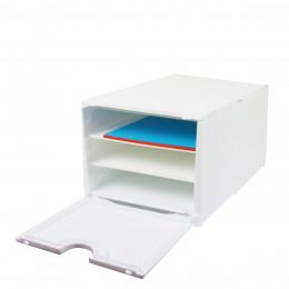 Module de classement blanc à 2 étagères