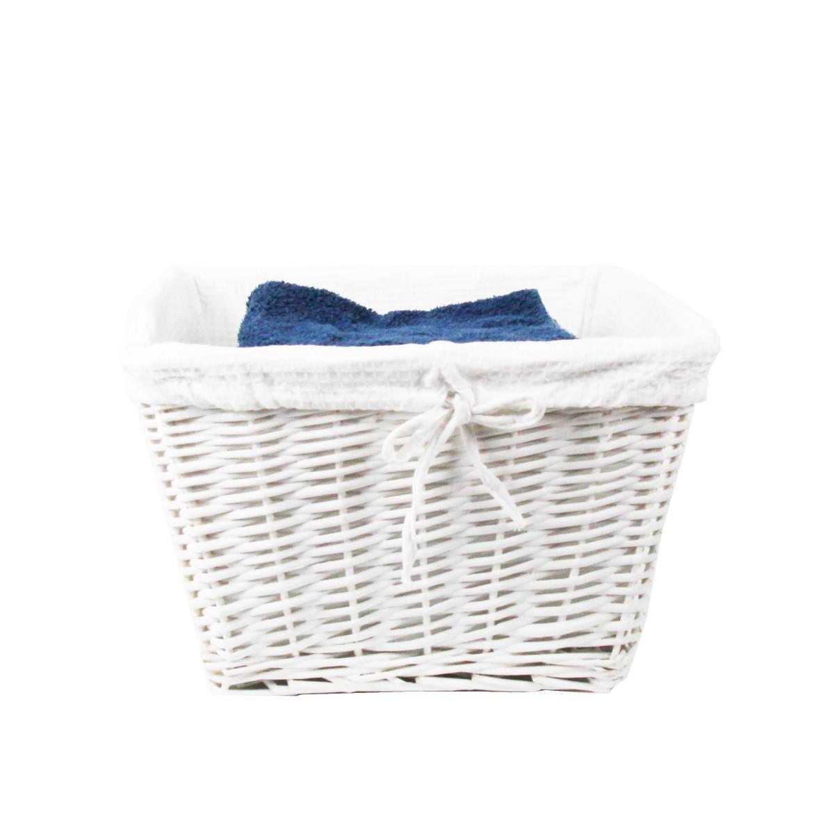 Panier Osier Blanc Avec Housse Tissu Blanc Panier En Osier # Meuble Salle De Bains En Osier Avec Tiroirs