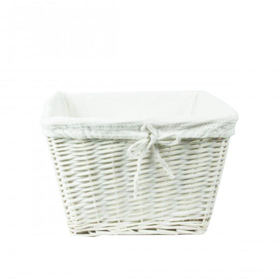 panier osier blanc avec housse tissu blanc panier en osier. Black Bedroom Furniture Sets. Home Design Ideas