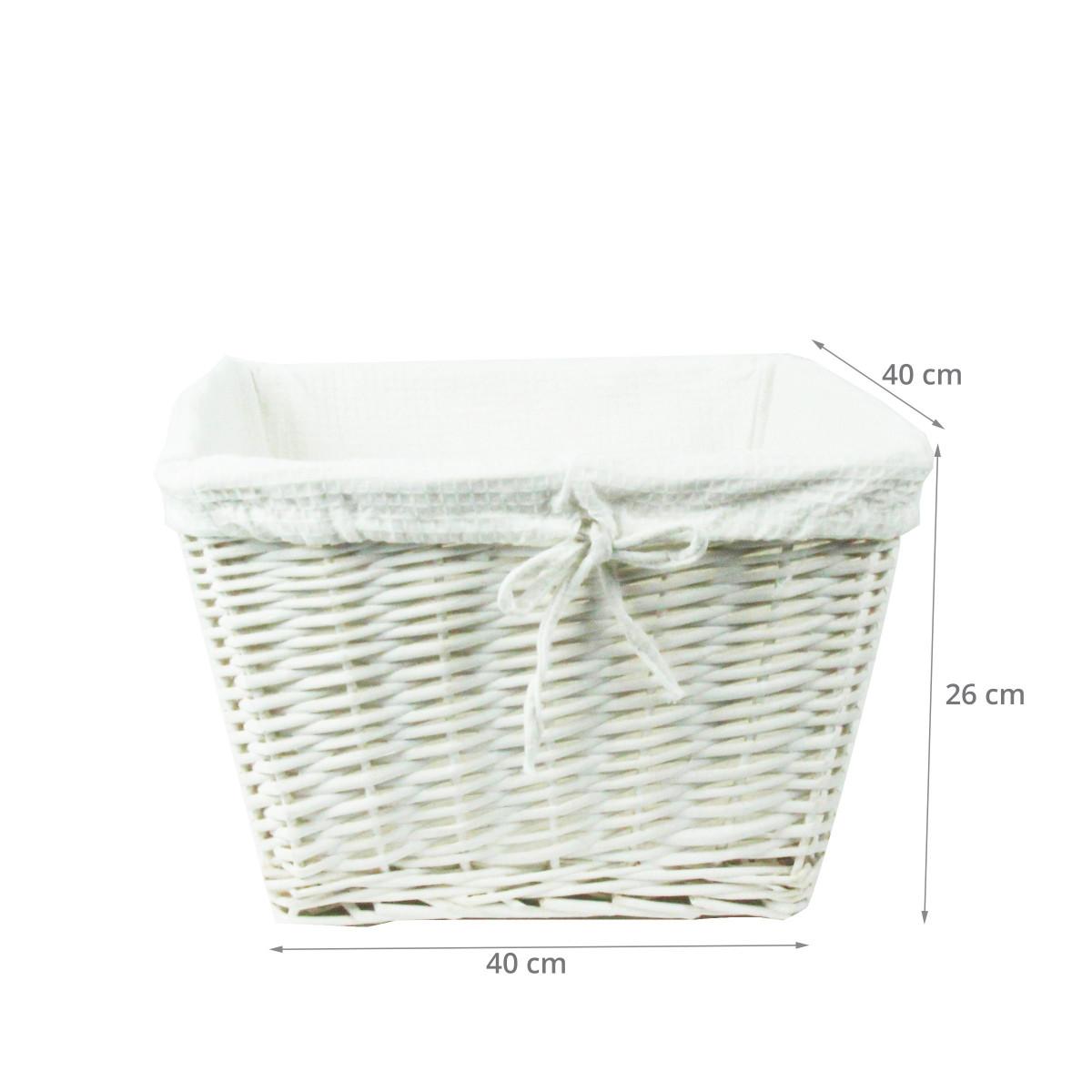 panier osier blanc avec housse tissu blanc rangement. Black Bedroom Furniture Sets. Home Design Ideas