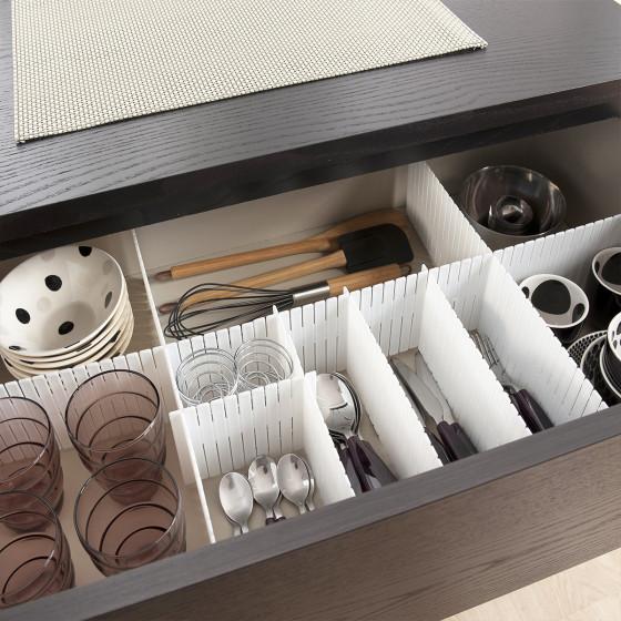 S parateur de tiroir modulable blanc rangement v tements for Meuble salle de bain tiroir coulissant