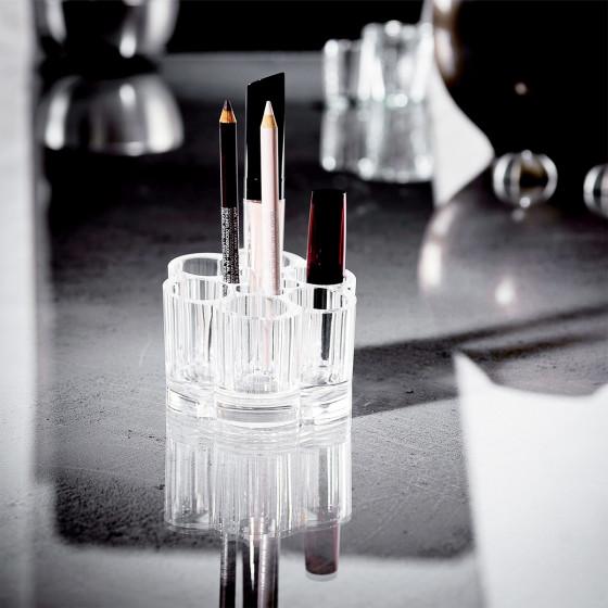 Petit présentoir de maquillage rond en acrylique transparent
