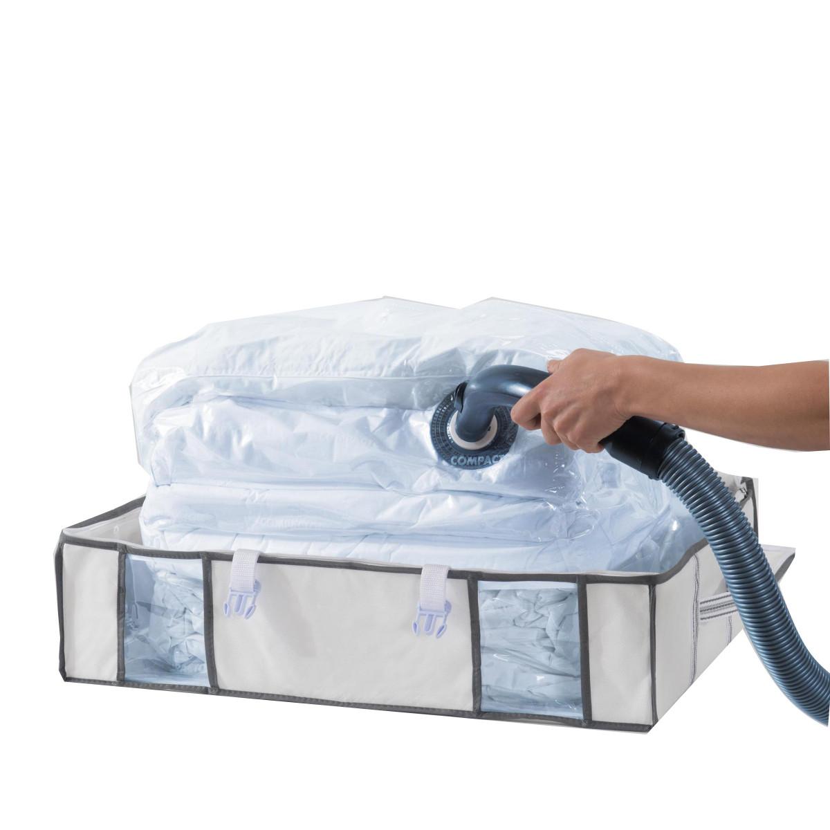 Housse rangement sous vide sous le lit avec sangles stockage for Rangement sous de lit