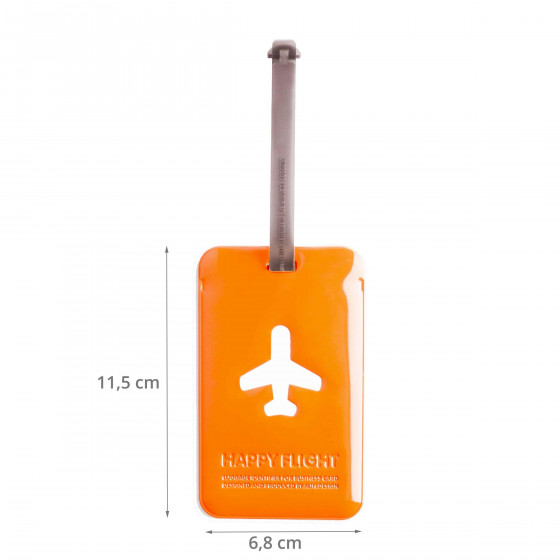 Etiquette de bagage rectangulaire en plastique orange