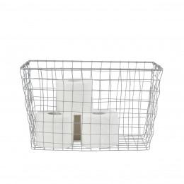 Grand panier rectangulaire en métal gris clair