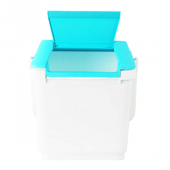 panier linge empilable plastique blanc et turquoise. Black Bedroom Furniture Sets. Home Design Ideas