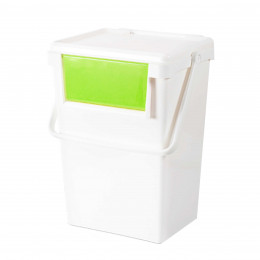 Poubelle de recyclage blanche et jaune empilable tri for Poubelle cuisine vert anis