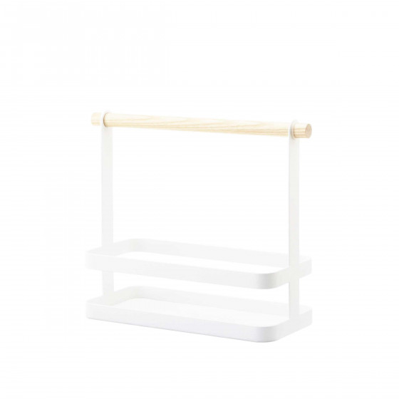 Panier à épices en métal blanc et en bois