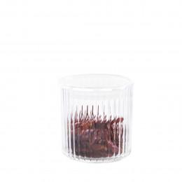 Boîte de conservation en plastique transparent cannelé. Taille S