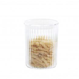 Bocal de cuisine en plastique transparent cannelé. Taille M