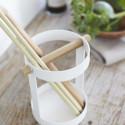 Pot à ustensiles de cuisine en métal blanc et bois