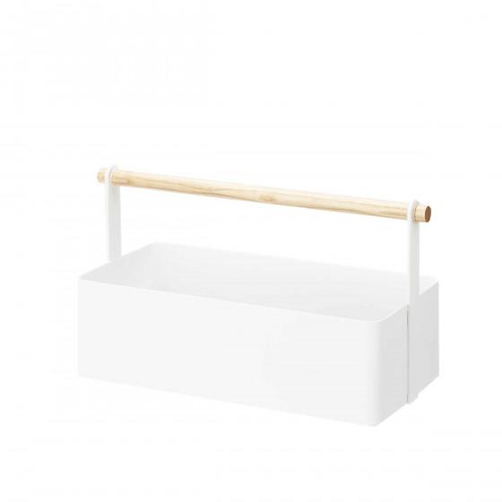 Panier design en métal blanc avec un manche en bois.