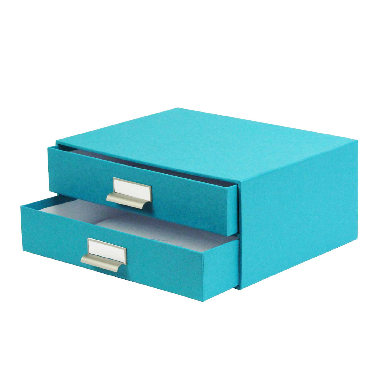 bo te carton turquoise 2 tiroirs archivage. Black Bedroom Furniture Sets. Home Design Ideas