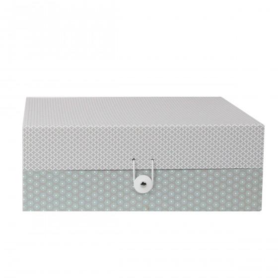 Bo te de rangement en carton motifs gris - Boite de rangement carton ikea ...