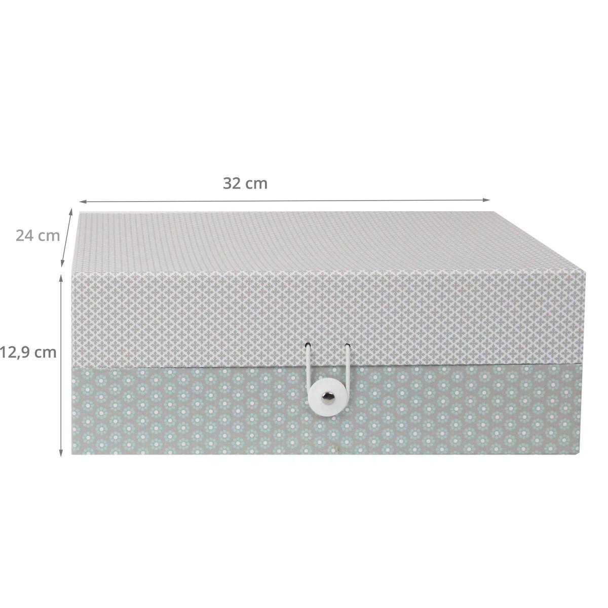 bo te de rangement en carton motifs gris. Black Bedroom Furniture Sets. Home Design Ideas