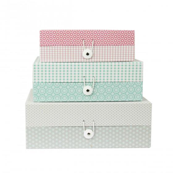 Boîte de rangement en carton à motifs gris