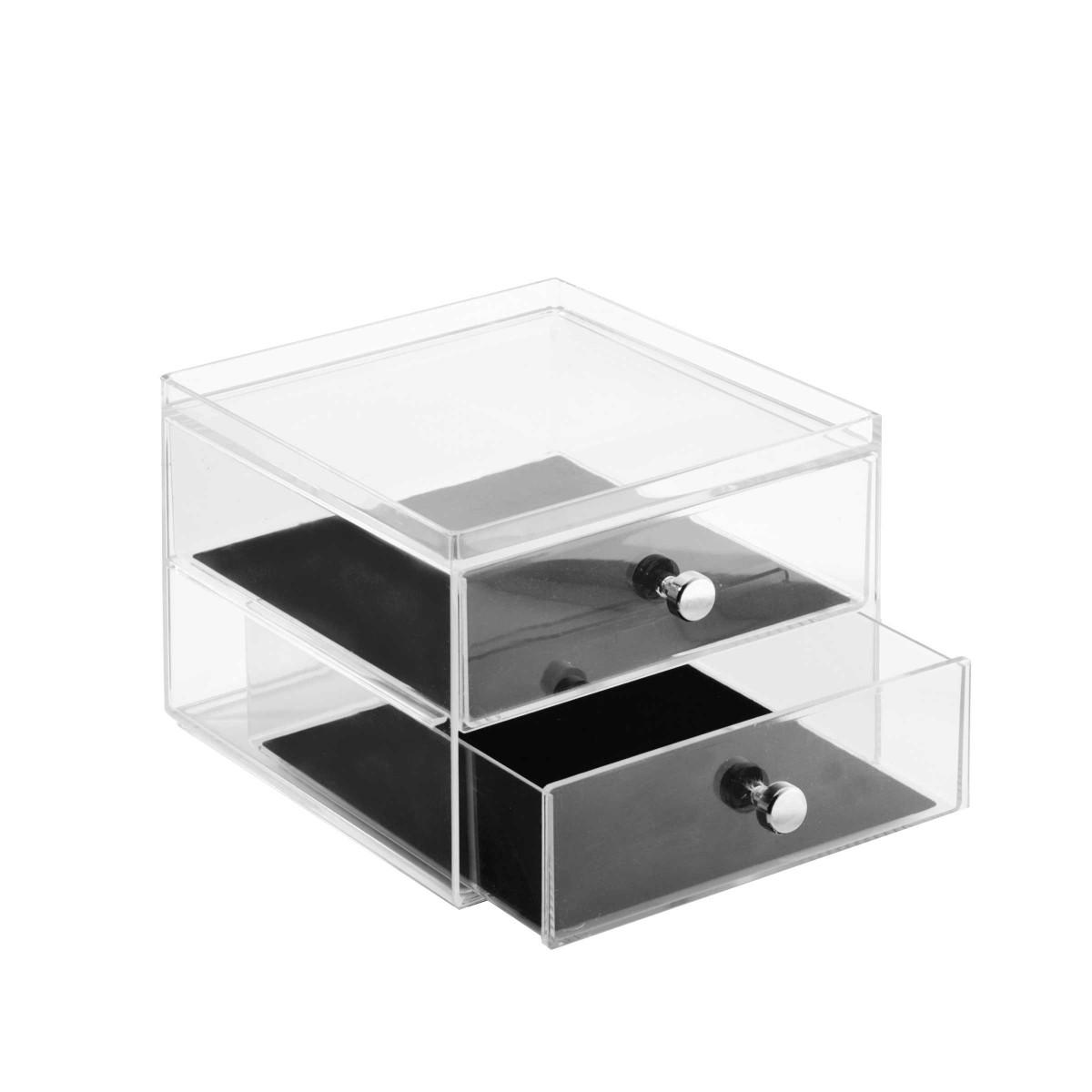 bo te bijoux en acrylique 2 tiroirs. Black Bedroom Furniture Sets. Home Design Ideas