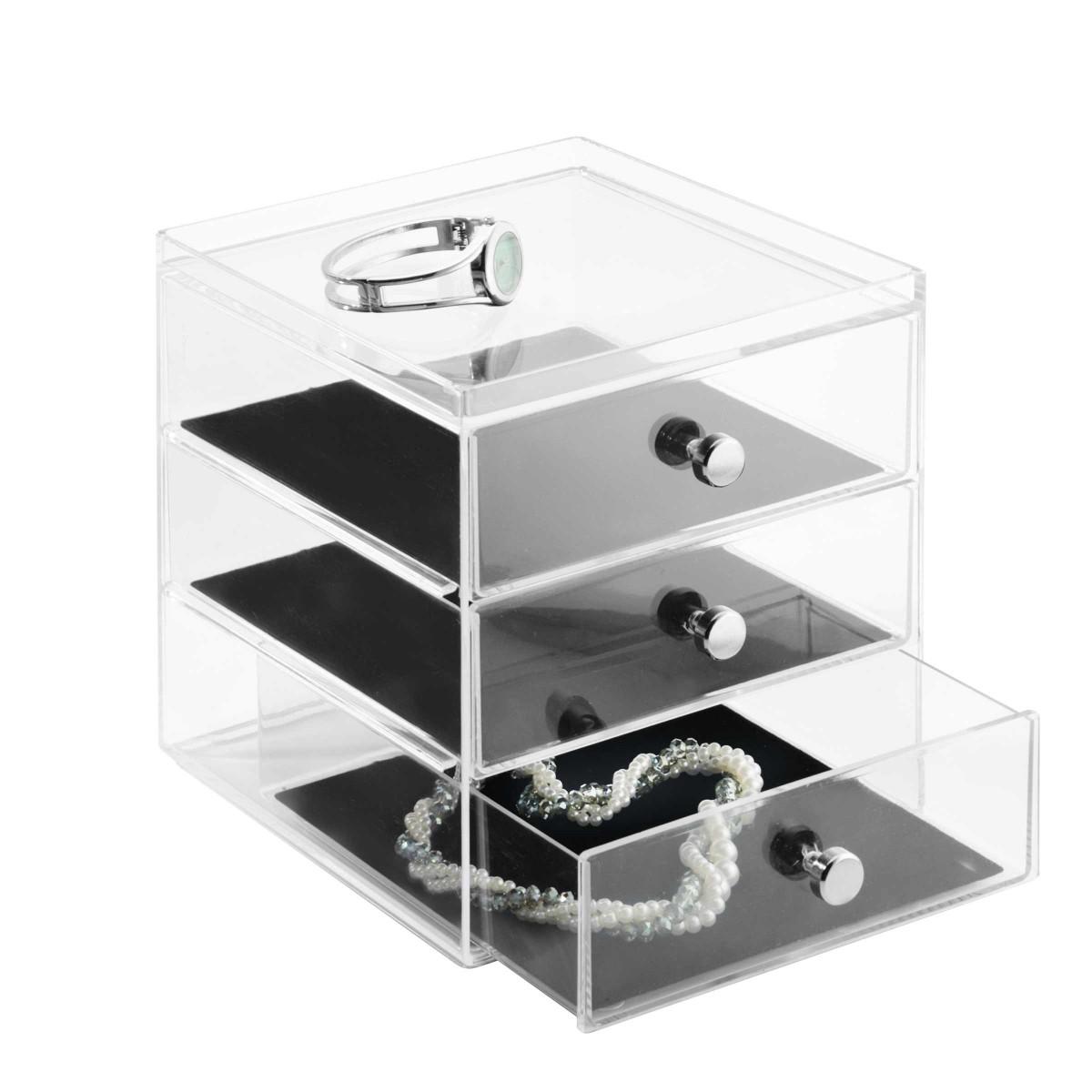 Bo te bijoux 3 tiroirs en acrylique - Boite acrylique transparente ...