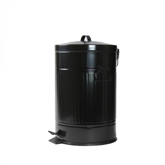 poubelle r tro en m tal noir 20 litres. Black Bedroom Furniture Sets. Home Design Ideas