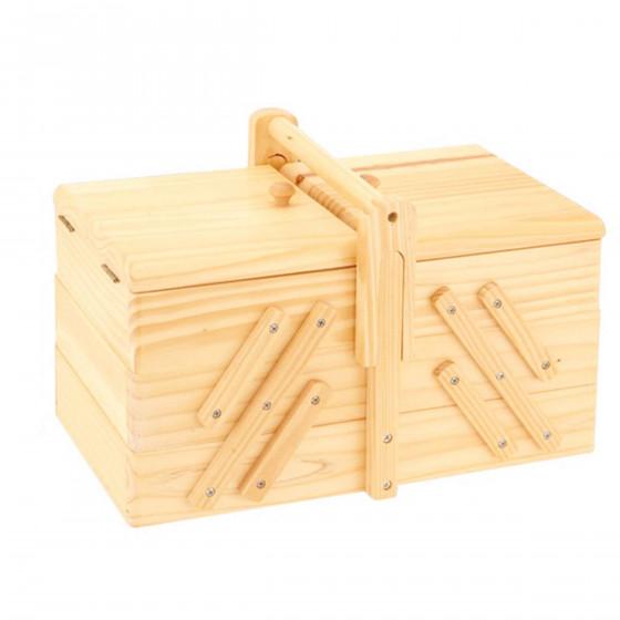 Bo te couture en bois travailleuse rangement for Boite a couture en bois a decorer