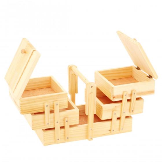 Bo te couture en bois travailleuse rangement for Boite travailleuse