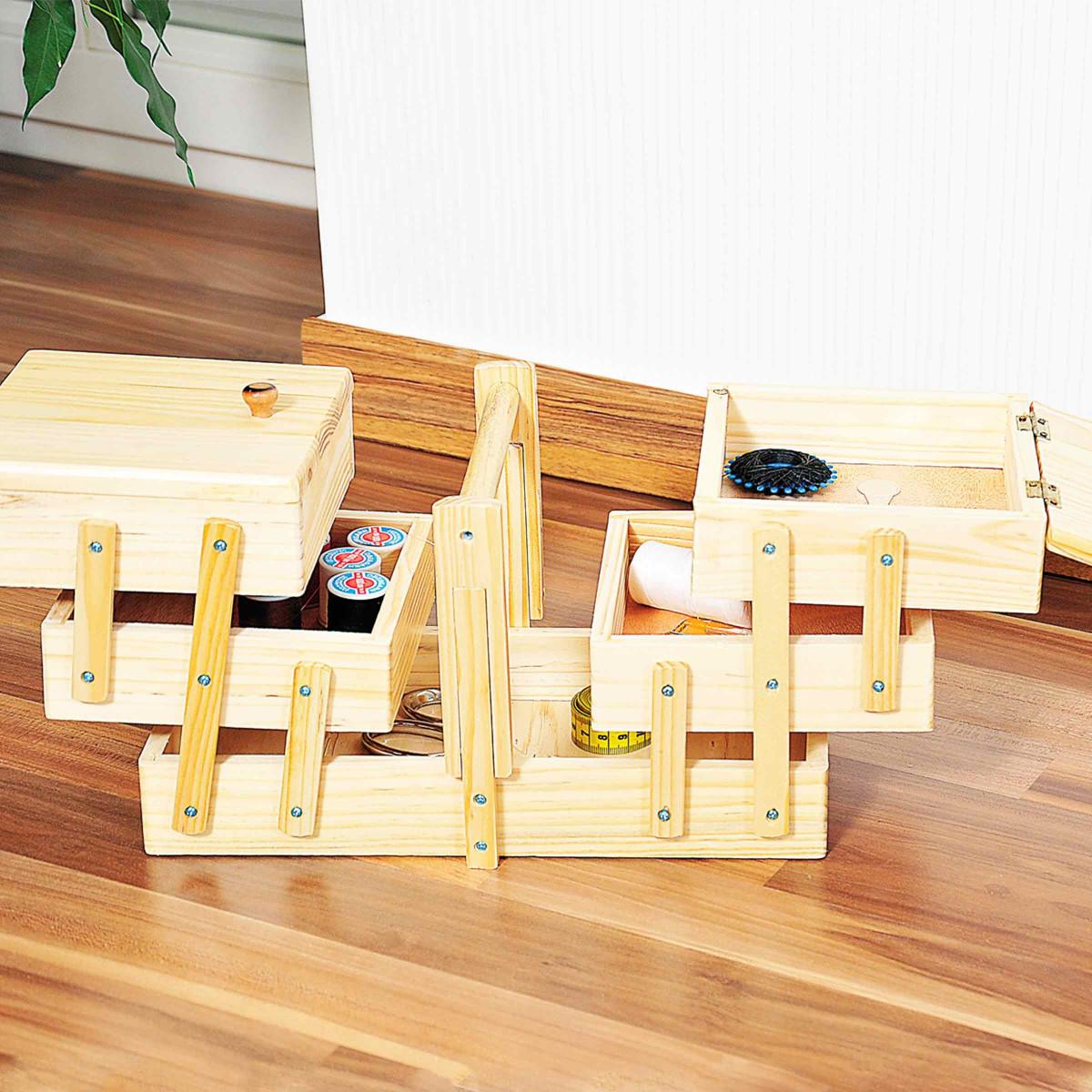 Boîte à couture en bois  Travailleuse  Rangement ~ Travailleuse Couture En Bois