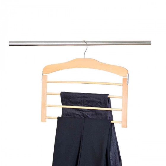 Cintre pour pantalons en bois 4 barres rangement penderie - Cintre pour pantalon ...