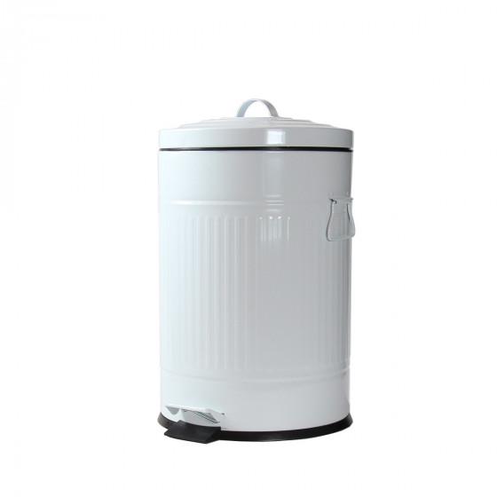 poubelle 20l p dale r tro en m tal blanc. Black Bedroom Furniture Sets. Home Design Ideas
