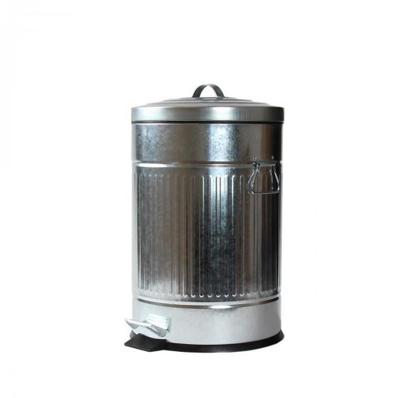 Poubelle 20L rétro en acier galvanisé brut