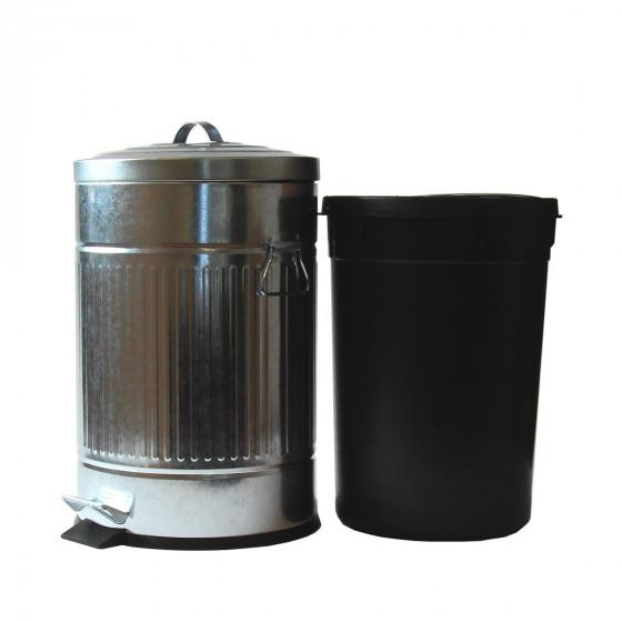 poubelle 20l r tro en acier galvanis brut. Black Bedroom Furniture Sets. Home Design Ideas