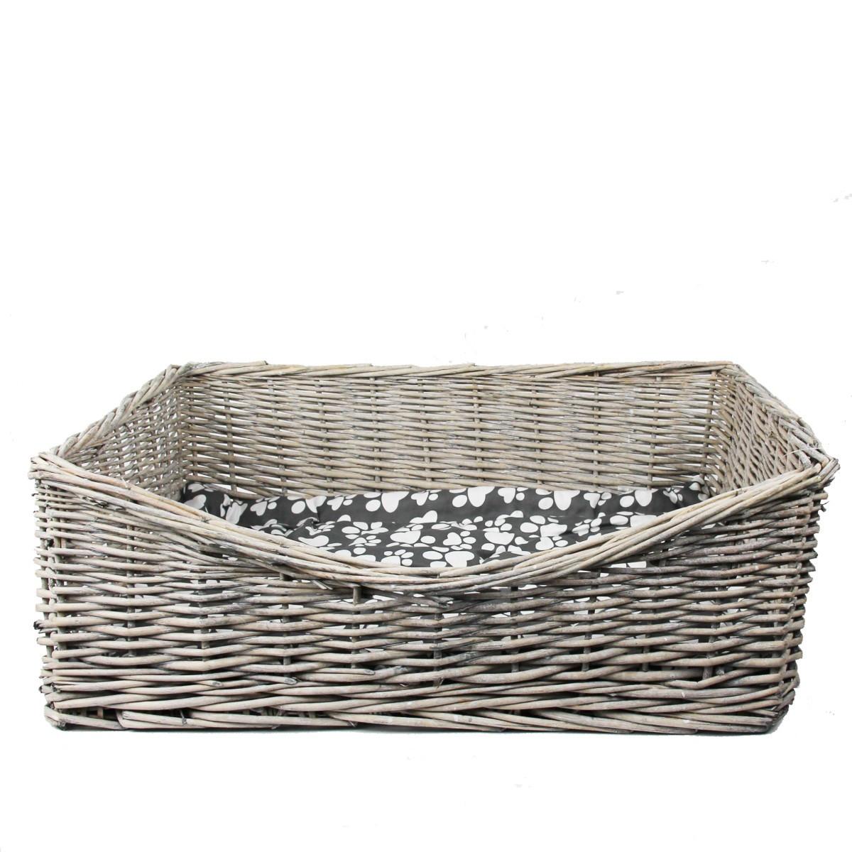 panier pour chien en rotin avec coussin longueur 66 cm. Black Bedroom Furniture Sets. Home Design Ideas