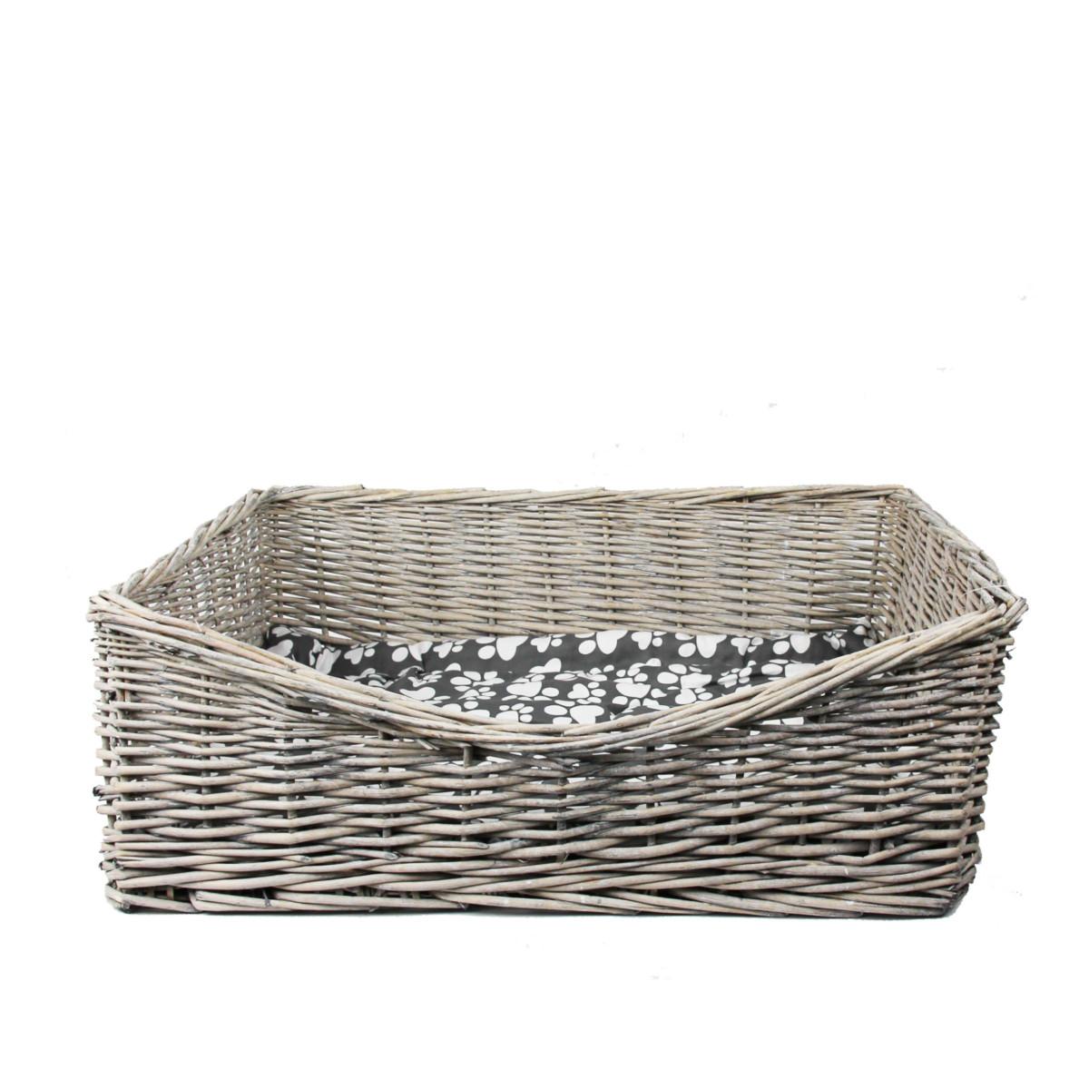 panier pour chien en rotin avec coussin longueur 63 cm. Black Bedroom Furniture Sets. Home Design Ideas