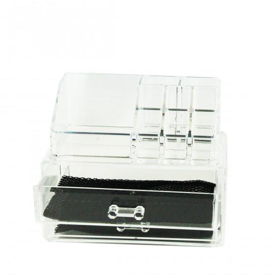 Bo te rangement maquillage 2 tiroirs 1 pr sentoir - Boite de rangement maquillage acrylique ...