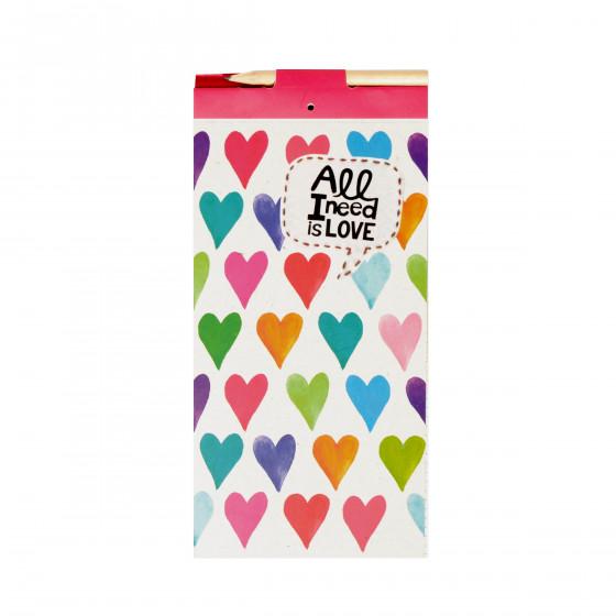 Bloc notes aimanté motif coeurs avec 100 feuilles détachables