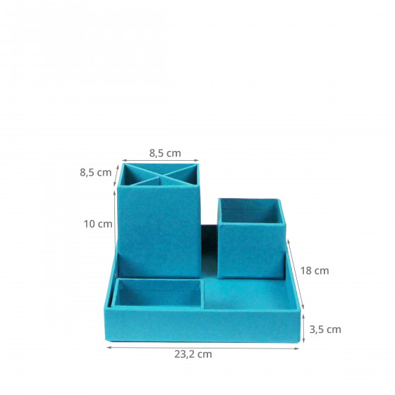 Organisateur de bureau bleu turquoise