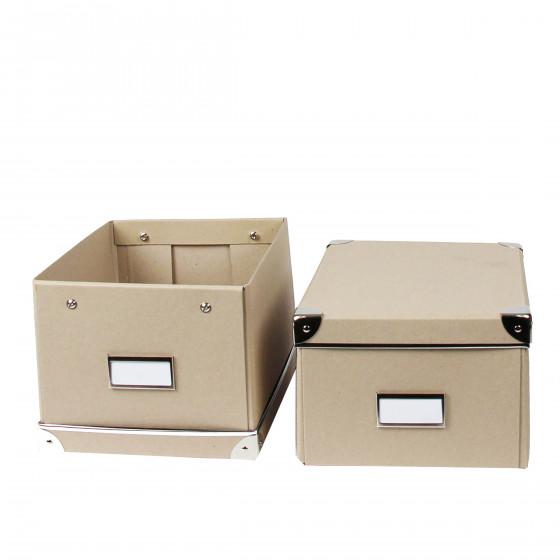 Lot de 2 boîtes en carton kraft et coins métalliques. Taille M