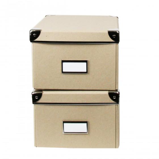 Lot de 2 boîtes en carton kraft et coins métalliques. Taille L
