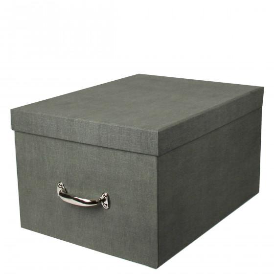 Grande boîte de rangement en carton gris - solide et élégante