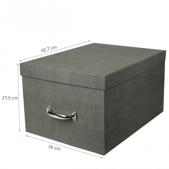 Boîte de rangement en carton gris. Taille L