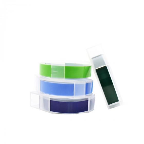 4 rubans pour étiqueteuse manuelle verts et bleus