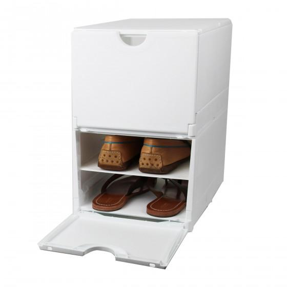 bo te rangement 4 paires de chaussures plastique blanc. Black Bedroom Furniture Sets. Home Design Ideas