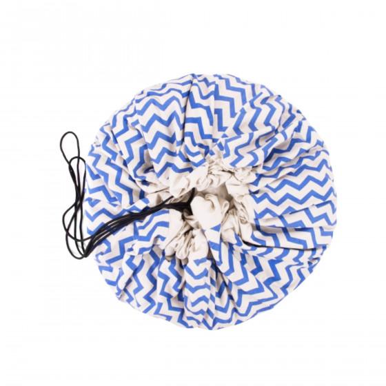 tapis sac jouets zigzag bleu. Black Bedroom Furniture Sets. Home Design Ideas