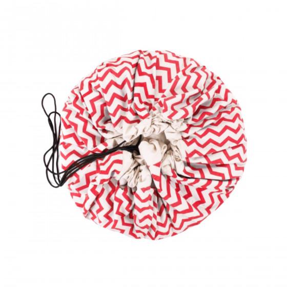 Tapis sac de rangement jouets zigzag rouge