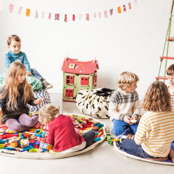 Tapis de rangement pour jouets d'enfants bleu