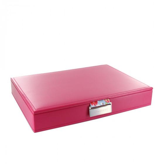 Boîte à bijoux avec couvercle fuchsia intérieur fleuri rose